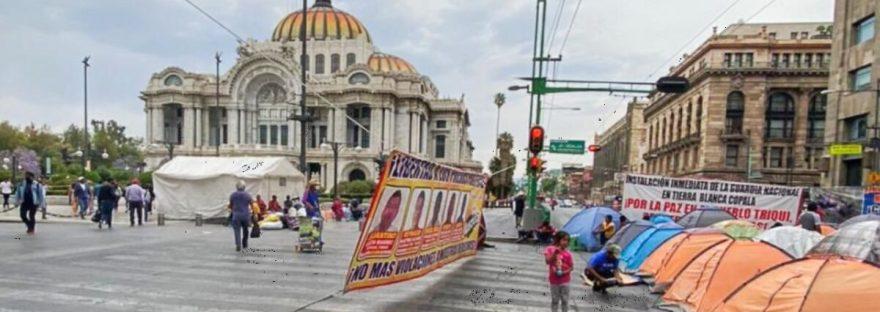 Triquis plantón Bellas Artes